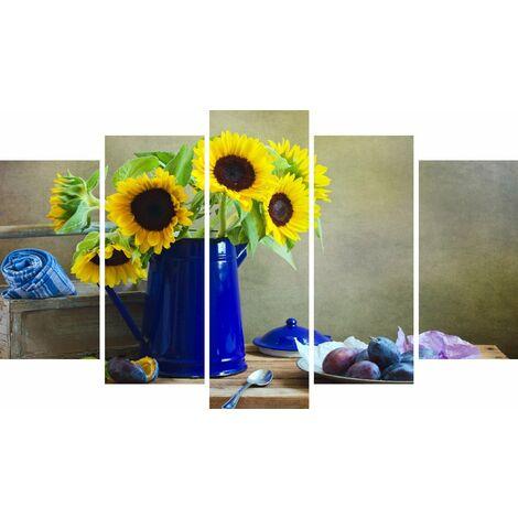 Tableau Sunflowers - Decoration murale, Nature - 5 pieces - pour Salon, Chambre - en Bois de Pin, Polyester, 100 x 3 x 60 cm