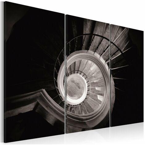 Tableau sur toile en 3 panneaux décoration murale image imprimée cadre en bois à suspendre Escalier en colimaçon 60x40 cm - or