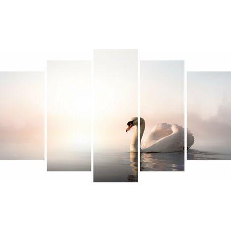 Tableau Swan - Decoration murale, animaux - 5 pieces - pour Salon, Chambre - en Bois de Pin, Polyester, 100 x 3 x 60 cm