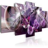 Tableau toile de décoration motif tulipe violette 100x50cm