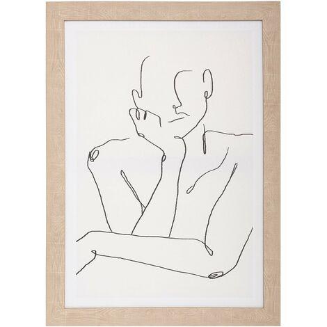 """main image of """"Tableau toile imprimée 50x70 cm Visage penseur - Blanc"""""""
