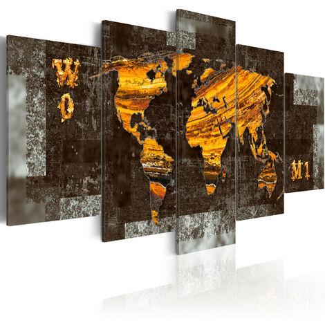 Tableau - Trésors cachés (Carte du monde) 100x50