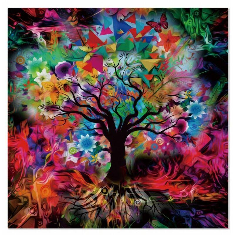 Tableau Verre Acrylique Visuel Arbre Abstrait Multicolore