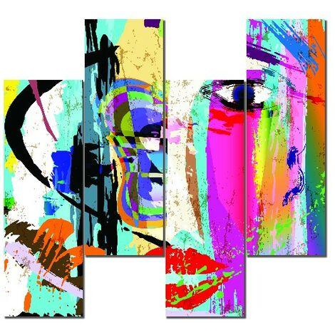 Tableau Wall - Abstract - pour Salon, Chambre -Multicolore en MDF, 19 x 0,3 x 50 cm