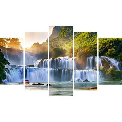 Tableau Waterfall 1 - Decoration murale, nature et paysages - 5 pieces - pour Salon, Chambre - en Bois de Pin, Polyester, 100 x 3 x 60 cm