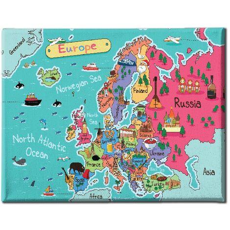 Tableau World - Plan - pour Salon, Chambre -Multicolore en Polyester, Bois, 100 x 3 x 70 cm