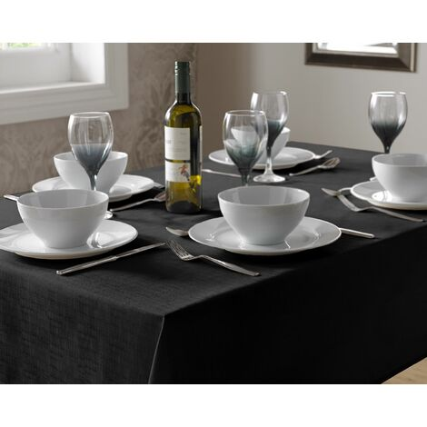 Tablecloth Black Linen Dining Table Cover Round Circular 180cm
