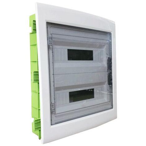 Tablero de conmutación de montaje empotrado Gewiss 36 módulos (18X2) con puerta de humo IP40 GW40609PM