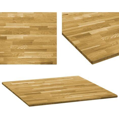 Tablero de mesa cuadrado madera maciza de roble 23 mm 80x80 cm