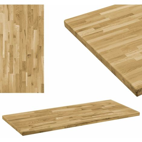 Tablero de mesa rectangular madera maciza roble 44 mm 120x60 cm