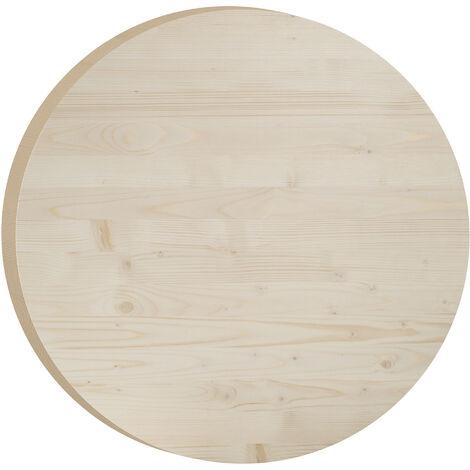 Tablero de mesa redondo de madera maciza de pino de 75cm (3,5 cm grosor)