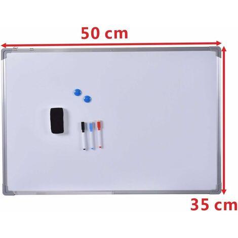 Tablero de Pizarra Blanca Recordatorio Magnético Placa Notas con Marco de Aluminio 50*35CM
