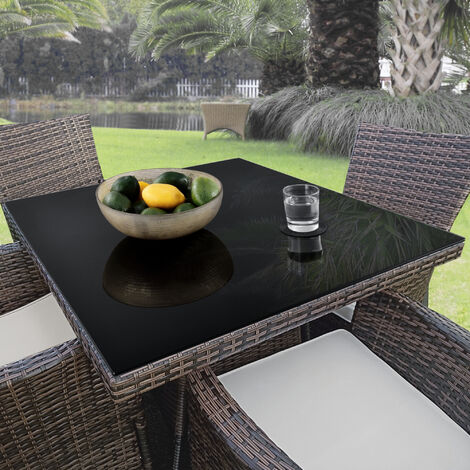 Tablero de vidrio para Mesa de centro - para Mesa de Comedor - Placa inferior para Chimenea - Vidrio Templado - 70 x 70 cm - Negro