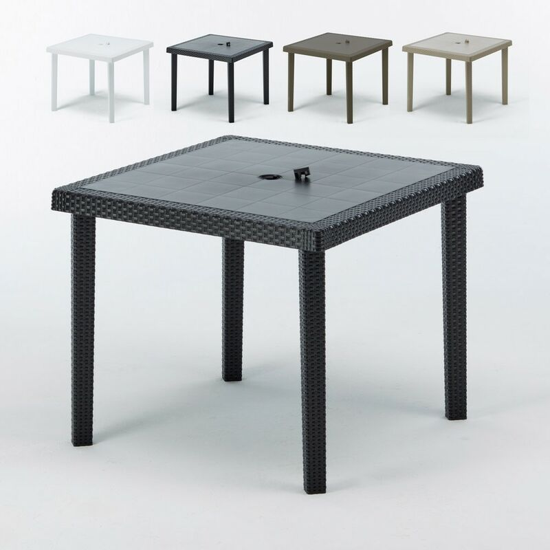 Tables bar en Poly rotin carrées 90x90 Boheme 12 pcs   Noir - Grand Soleil