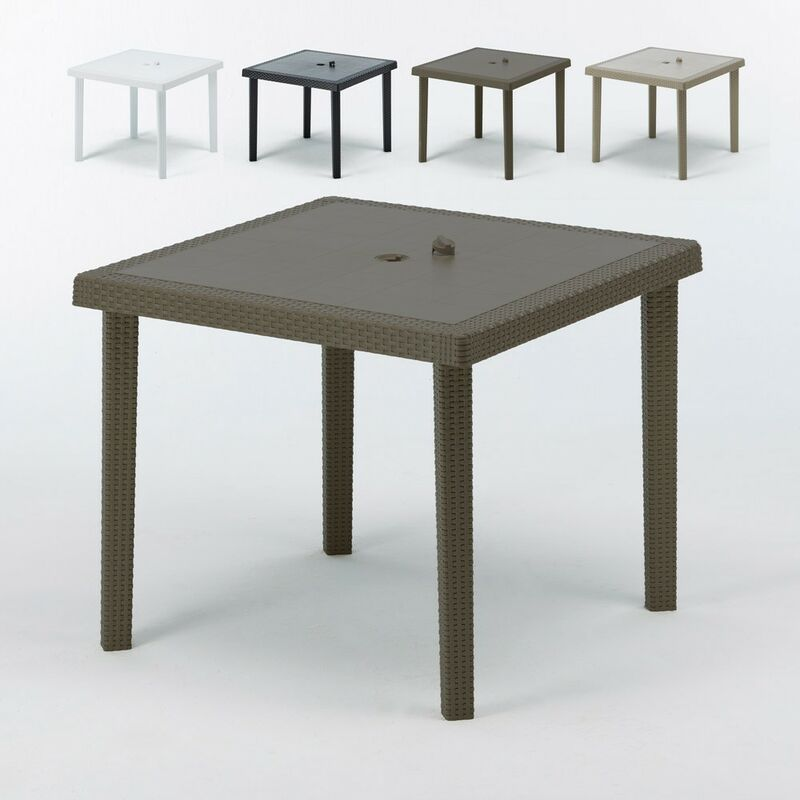 Tables bar en Poly rotin carrées 90x90 Boheme 12 pcs   Marron - Grand Soleil