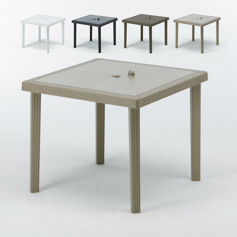 Tables bar en Poly rotin carrées 90x90 Grand Soleil Boheme 12 pcs   Beige