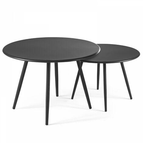 Tables basses de jardin gigognes en métal - Gris - 104225