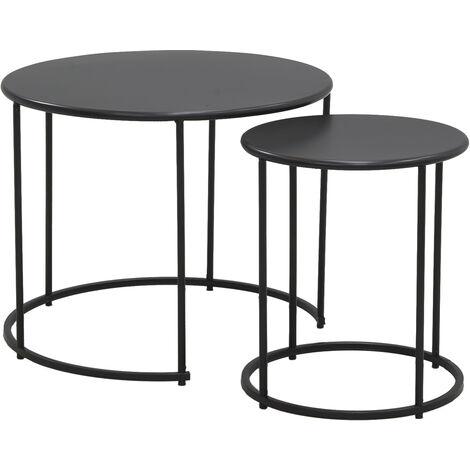 """main image of """"Tables basses en métal teinté noir (Lot de 2) - Noir"""""""