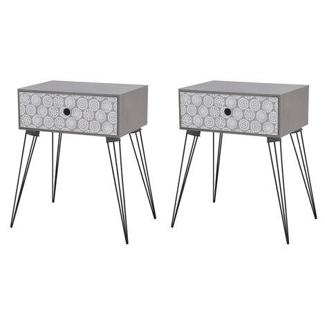 Tables de chevet avec tiroir 2 pcs Gris