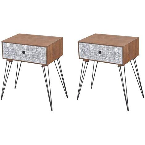 Tables de chevet avec tiroir 2 pcs Marron
