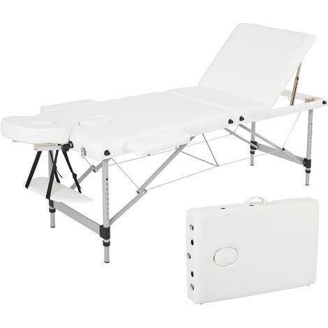 Tables de Massage Portable, Lit Cosmétique Pliante Aluminium, Table Canapé Thérapie Ergonomique Haute Qualité, avec Housse de Transport et Accessoires (Blanc)