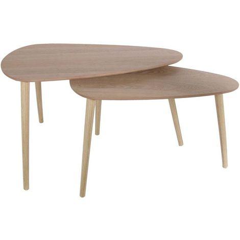 Tables Gigognes En Bois Galet Lot De 2 Naturel Hd6150