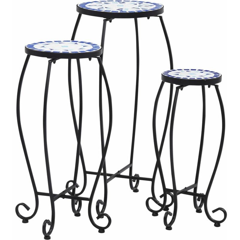 Vidaxl - Tables mosaïque 3 pcs Bleu et blanc Céramique