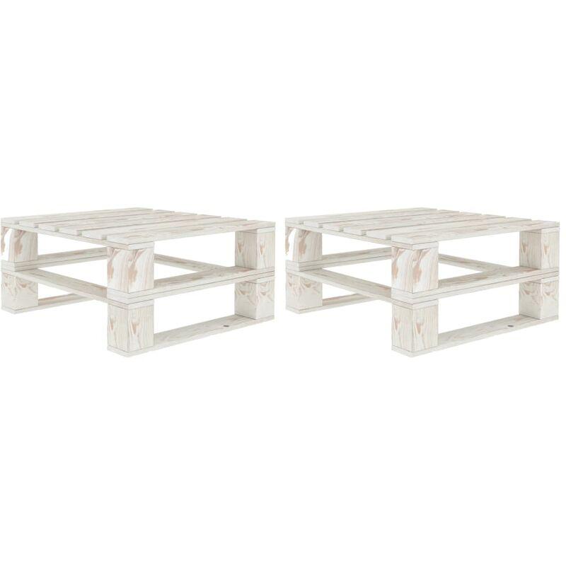 Vidaxl - Tables palette de jardin 2 pcs Blanc Bois