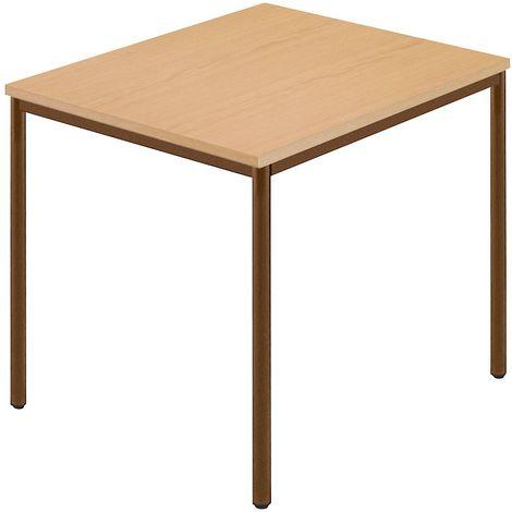Tables rectangulaires, tube rond plastifié, 800 x 800 mm hêtre naturel / brun
