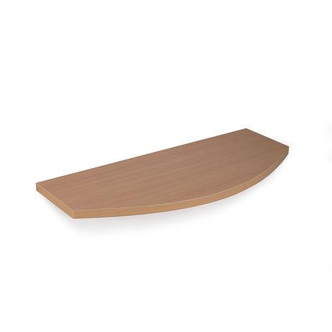 Tablette avec profil en bois courbé, style classique, finition hêtre et profondeur 150 mm