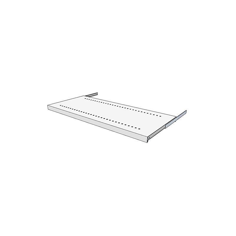 Tablette coulissante pour armoire et rayonnage combinés - extraction complète - pour profondeur rayonnage 400 mm - Coloris: Gris clair RAL 7035