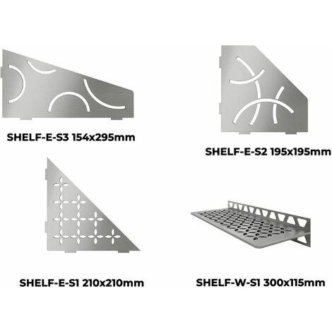 Tablette murale SHELF - TABLETTE CURVE D ANGLE SHELF-E-S2 ACIER INOX BROSSE 195x195mm