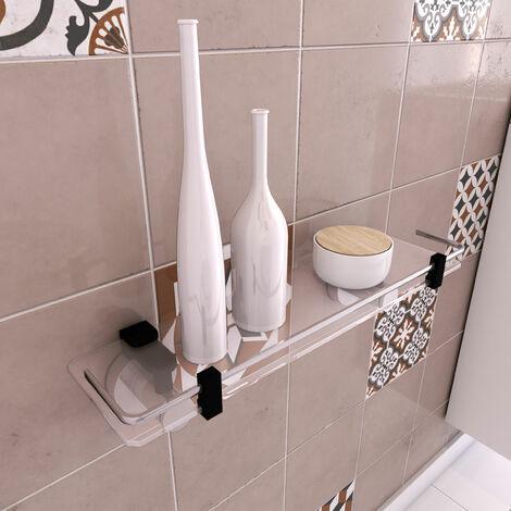 Tablette pour salle de bains - porte shampoing a ventouse - sans clou ni vis via syteme vide d\'air - Chrome