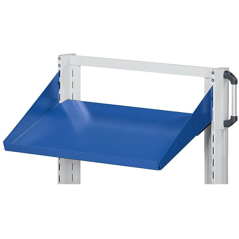 Tablette - tablette inclinée, rebord 75 mm - l x p 800 x 250 mm, bleu - Coloris: Bleu gentiane RAL 5010