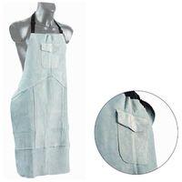 Tablier cuir croute gris 60 x 90 - poche - lacets nylon - coutures fil kevlar