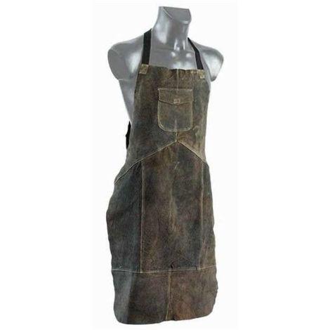 Tablier cuir croute KROZ 120 tous travaux de bricolage couleur brun originale avec double coutures et poche renforcée - Brun