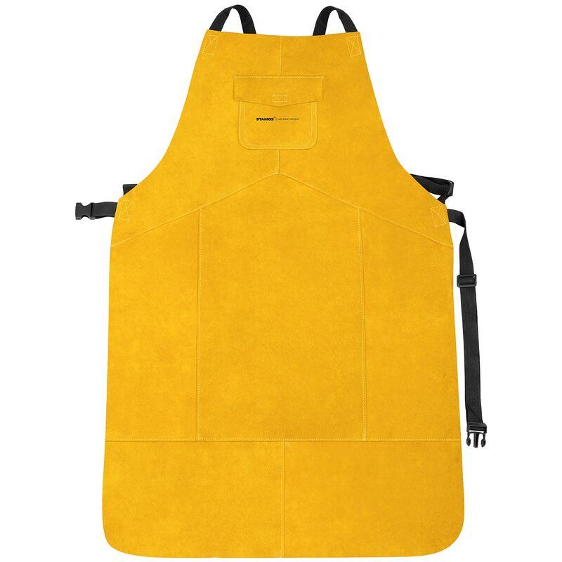 Stamos Welding Group Tablier De Soudeur Soudage Soudure Habit V/êtement Protection SWA03XL Cuir Cro/ûte De Bovin, Taille XL, 109 x 63,5 cm, Coutures KEVLAR/®, Fermetures /À Clic