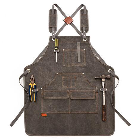 Tablier de travail multifonction en toile cirée imperméable, résistant à l'huile, avec poches à outils pour le travail du bois, l'artisanat, la peinture