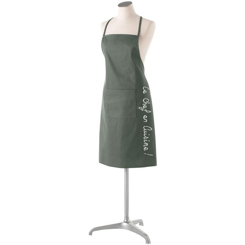 Douceur D'intérieur - Tablier +poche 60 x 84 cm coton cuistot Kaki