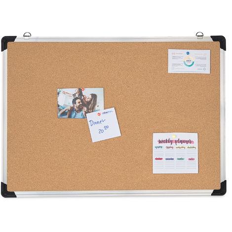 Tablón de corcho, Pizarra de pared, Marco de aluminio, 50x70 cm, Plata/marrón
