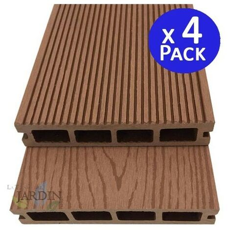 Tablón jardin composite madera 220 x 14,6 x 2,5 cm. 4 unidades