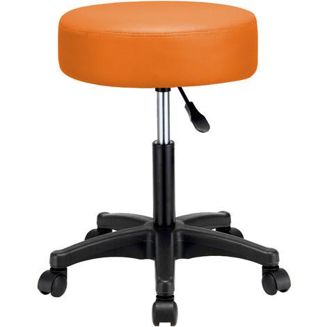 Tabouret à roulettes orange Pivotable 360° Réglable en hauteur Coussin 10cm