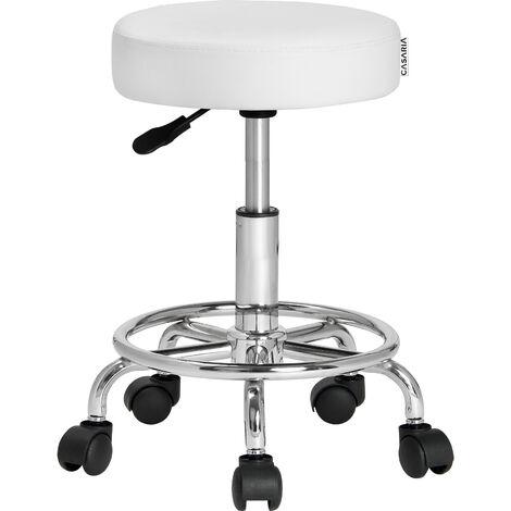 Tabouret à roulettes Siège rembourré pivotant 360° Hauteur réglable Noir blanc