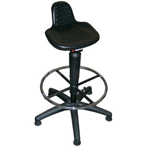 Tabouret - assise en mousse de polyuréthane - avec patins et repose-pieds circulaire
