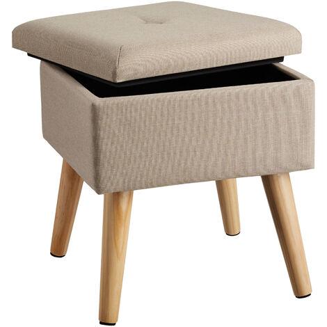 Tabouret avec coffre de rangement aspect lin ELVA carré - tabouret bois, tabouret bas, tabouret scandinave