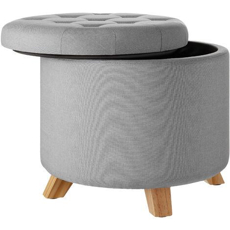 Tabouret avec coffre de rangement aspect lin SUNA capitonné - tabouret bois, tabouret bas, tabouret scandinave