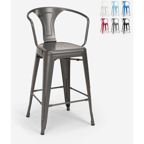 Tabouret avec dossier en métal design industriel pour bar et cuisine style Tolix Steel Back