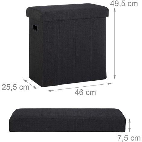 Tabouret banc banquette pouf de rangement pliable pliant 50 litres noir - Noir