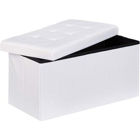 Tabouret banquette pouf de rangement pliant coffre repose-pieds 76 cm lin blanc - Blanc