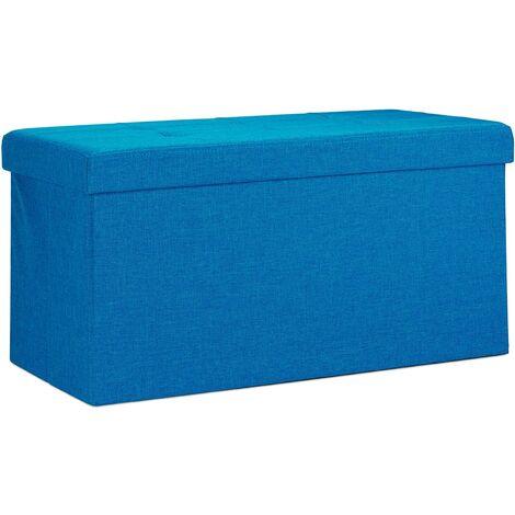 Tabouret banquette pouf de rangement pliant coffre repose-pieds 76 cm lin bleu - Bleu
